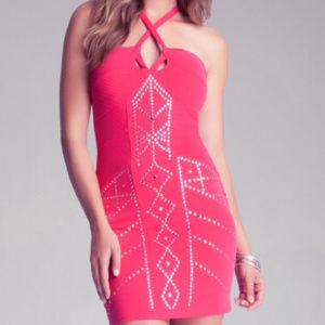 BEBE Red Geometric Stud Dress XL